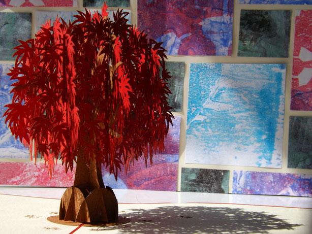 Roter Papierbaum und Gelliprint Papierliebe pur
