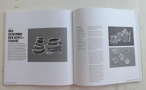 Meine Lieblingsseite aus dem Buch Schwarz & Weiß. So viele Anregungen für Pinsel, Stift und Schere...
