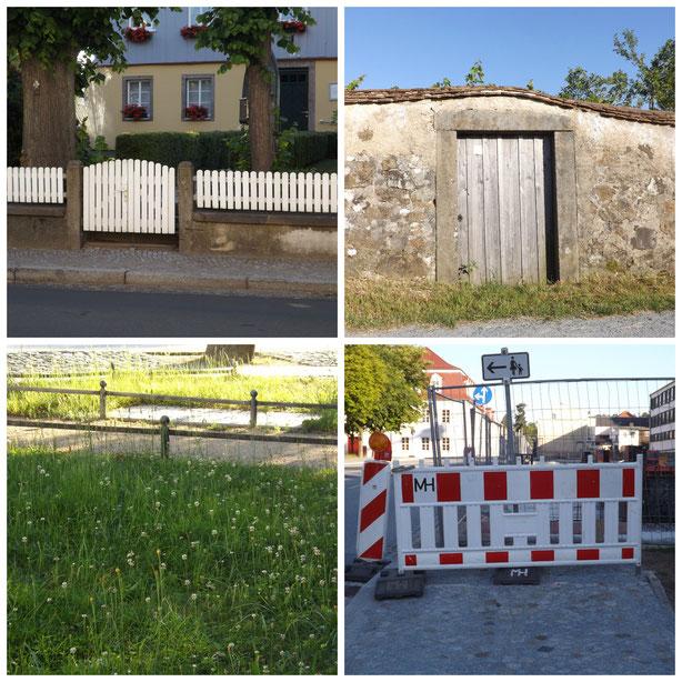 Weiße Zäunchen, historische Gartenmauer, Minizaun gegen Rasenlatscher, Bauzaun