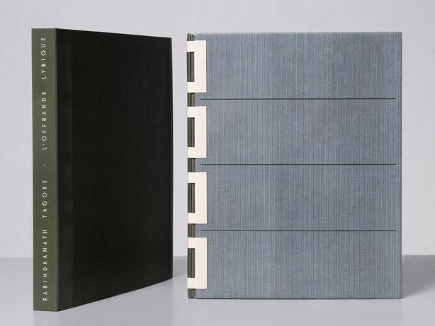 reliure cuir à charnières ajourées - design bookbinding leather