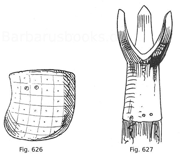 Fig. 625. Leichte Stechtartsche. Der Lederüberzug ist entfernt gedacht. Ende 15. Jahrhundert. Fig. 626. Schwerer Krönig für das deutsche Gestech. Ende 15. Jahrhundert.