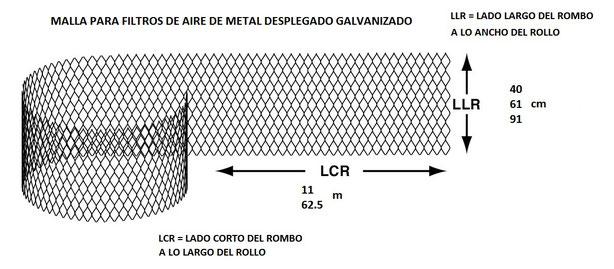 Malla Para Filtros de Aire Filtro Red Hoja de 40 61 y 91 cm por 11 y 62.5 m
