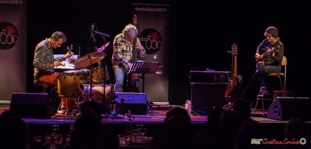 Le Philippe Bayle Trio : Frédéric Sicart, Philippe Laccarrière, Philippe Bayle. Soirée Cabaret JAZZ360, Cénac, 18 mars 2017