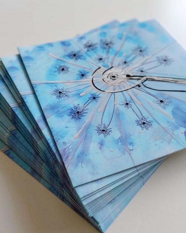 Eisblume Kunstkarte für Weihnachten und weitere Grüsse an Ihre Kunden oder Freunde