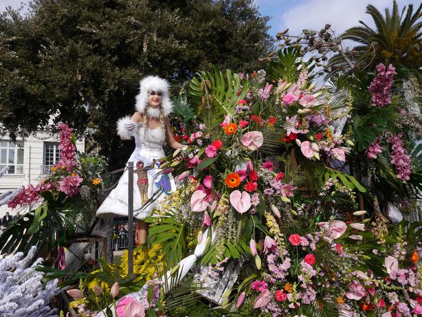 Städtereise Frankreich, Karneval in Nizza, Blumenkorso
