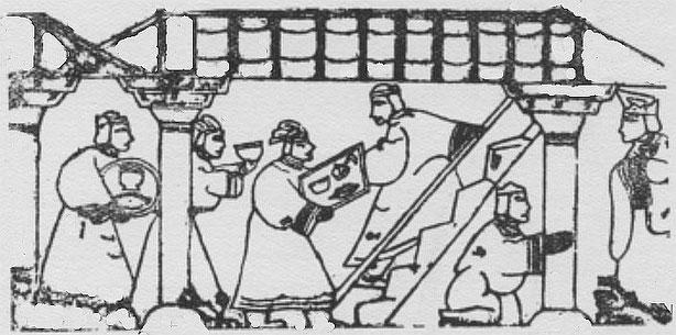 Escalier de cuisine. Henri Maspero (1883-1945) : La vie privée en Chine à l'époque des Han. — Conférence au musée Guimet, le 29 mars 1931. Parution dans la Revue des Arts Asiatiques, Paris, 1932, tome VII, pages 185-201.