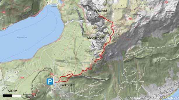 Route auf die Trisselwand im westlichen Toten Gebirge. Weg vom Parkplatz Tressensattel über den Ahornkogel auf die Trisselwand.