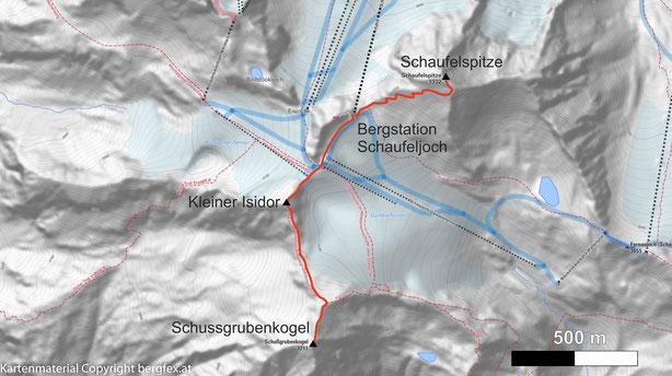 Schussgrubenkogel und Kleiner Isidor von der Bergstation Schaufeljoch. Abstecher zur Schaufelspitze