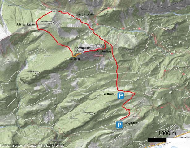 Route / Weg auf den Hochtausing über den Ost-Anstieg und Abstieg über den Toni Steig. Start beim Parkplatz Oberkogleralm.