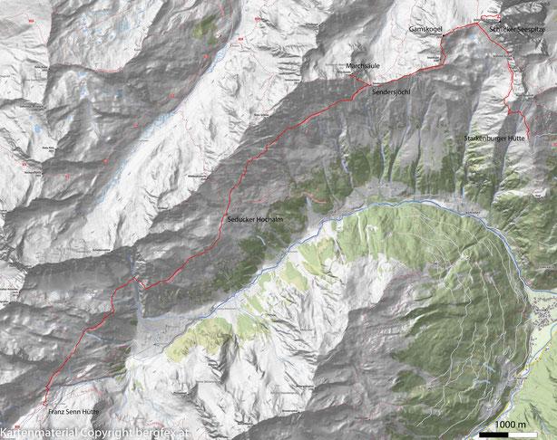 Route von der Starkenburgerhütte zur Franz Senn Hütte. Schöne Hochalmlandschaft im Stubaital