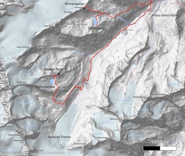 Start bei der Franz Senn Hütte und vorbei am Rinnensee zur Rinnenspitze
