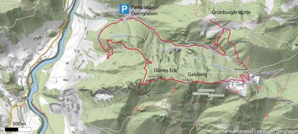 Dürres Eck und Gaisberg Rundweg mit Parkplatz im Dorngraben