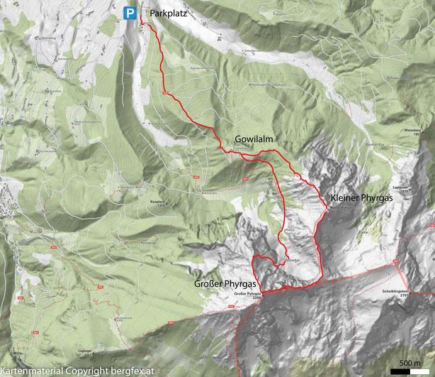 Wanderung auf den Kleinen Phyrgas. Über die Gratwanderung gelingt die Überschreitung auf den Großen Phyrgas. Rückweg erfolgt über den Bad Haller Steig.