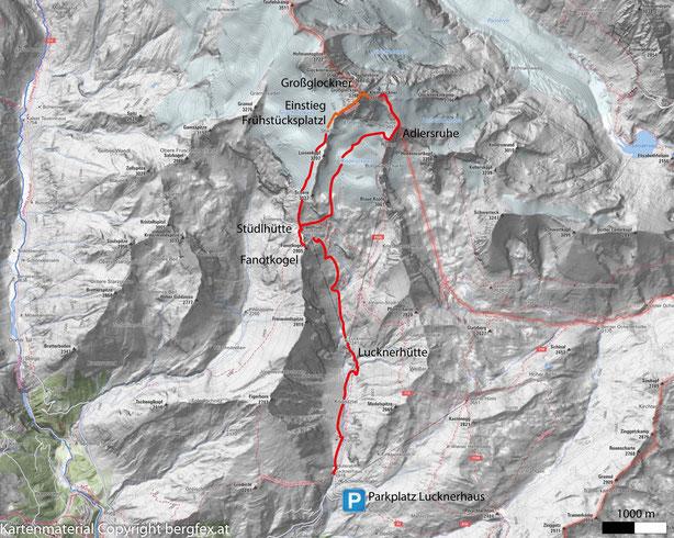 Weg auf den höchsten Punkt Österreichs. Ausgehend vom Lucknerhaus zur Stüdlhütte. Abstecher und Kurztrip auf den Fanotkogel. Über den Teischnitzkees zum Einstieg des Stüdlgrates. Zu Beginn viel loses Geröll. Später ab dem Frühstücksplatzl guter Fels.