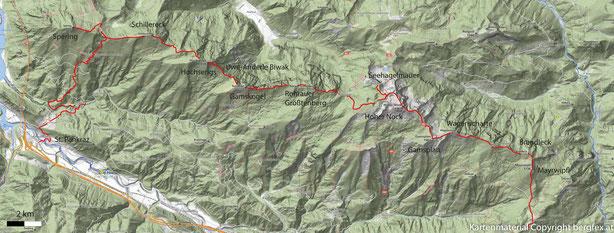 Route der Überschreitung des Sengsengebirges. Ausgehend von St. Pankraz über den Kamm zum Hohen Nock und weiter zum Mayerwipfel.