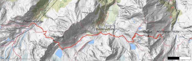 Wanderung von der Sulzenauhütte zur Nürnbergerhütte am Fuße des Wilden Freigers