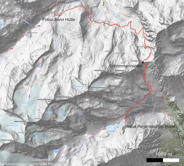 Wanderung von der Franz Senn Hütte über den Schrimmennieder zur Neuen Regensburgerhütte