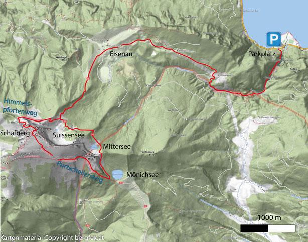 Schafberg via Purtschellersteig und Himmelspfortenweg. Ausgehend vom Attersee und der Burggrabenklamm weiter zur Eisenau.