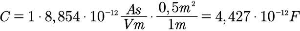 Beispiel für die Berechnung der Kapazität eines Plattenkondensators