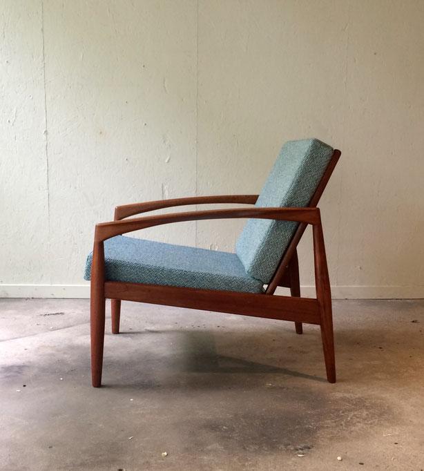 fauteuil vintage, fauteuil scandinave, Kai Kristiansen, modèle 121 Paper knife, fauteuil teck