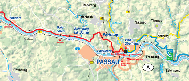 Vergrößerbare Karte Etappe Windorf bis Passau
