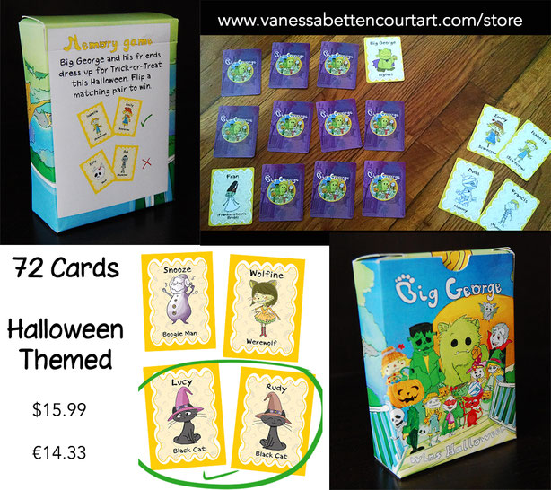 memory card deck game crafter halloween cute monsters kids costumes black cat zombie devil demon pumpkin jack o lantern werewolf frog haunted house witch frankenstein bat dracula vampire scarecrow skull sketleton mummy trick or treat children boogie man