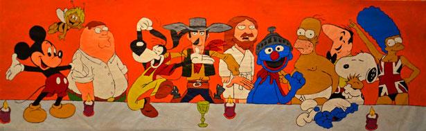 Comic, Pop Art, Divo Santino, letzte Abendmahl, Christ, Jesus, Judas, Figuren, Bunt, grosses Gemälde, 12 Jünger