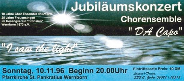 Plakat für das  Konzert von Da Capo in Wernborn 1996