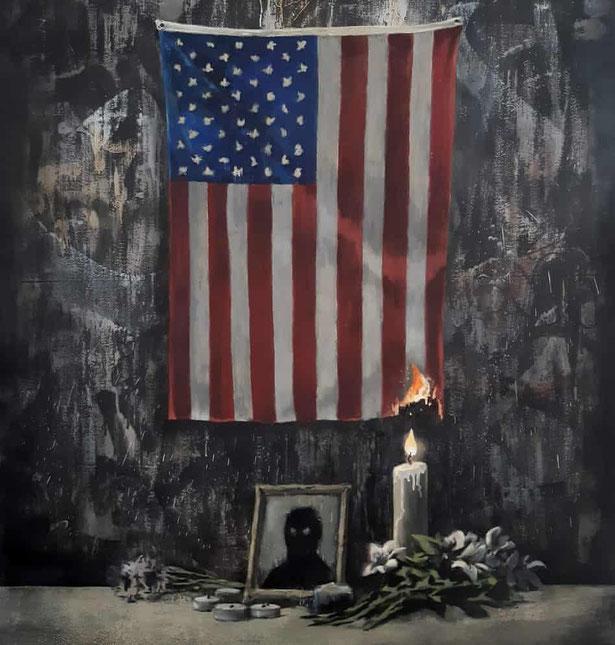 バンクシー「黒い影の肖像と燃え落ちるアメリカ国旗」