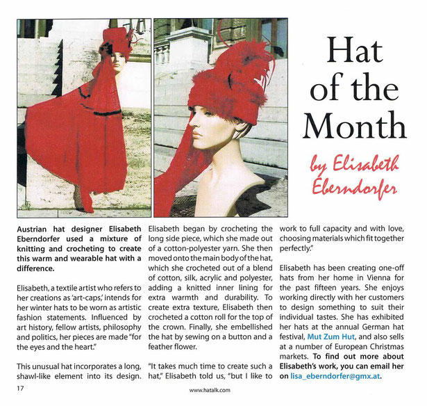 Hat of the Month by Elisabeth Eberndorfer