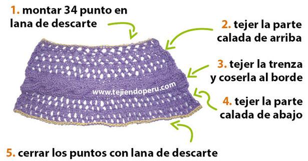 Cómo tejer un poncho irregular calado con trenzas en dos agujas o palitos