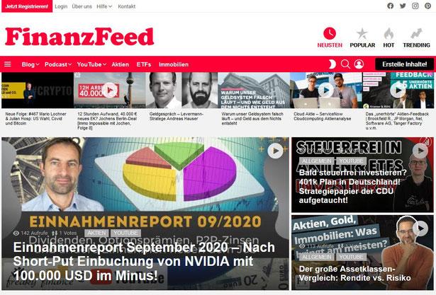 freaky finance, FinanzFeed Titelseite