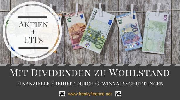 Aktien und ETFs, Mit Dividenden zu Wohlstand, Geldscheine auf der Wäscheleine