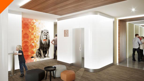 Aseos en Centro Comercial en León y Girona para SVAM Arquitectos. Representación 3D