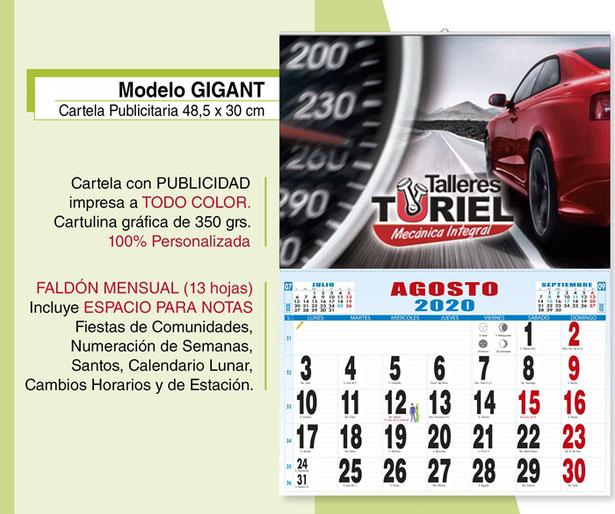 Calendario publicitario con cartela personalizada a todo color (43,5 x 30)