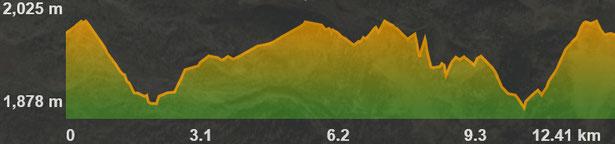 Perfil ruta raquetes de neu del Coll de Pam a les Bulloses
