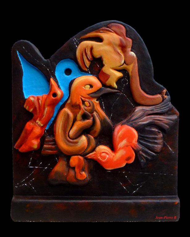 """Jean-Pierre Beillard - """"Après nous la maternité"""" - (d'après Max Ernst) - Béton cellulaire - Acrilyque 65x50x15cm"""