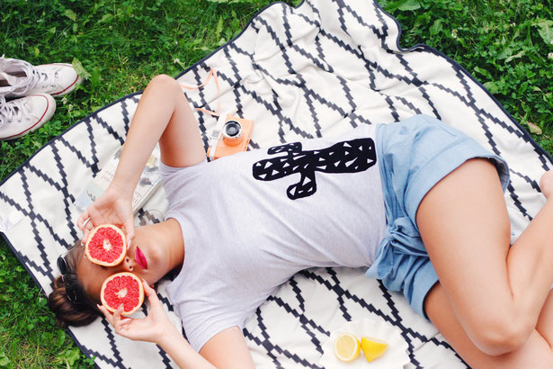 Shirt T-Shirt Damen weiß Print mydearlove Melone Kurzarm