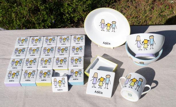 Vaisselle personnalisée pour un baptême
