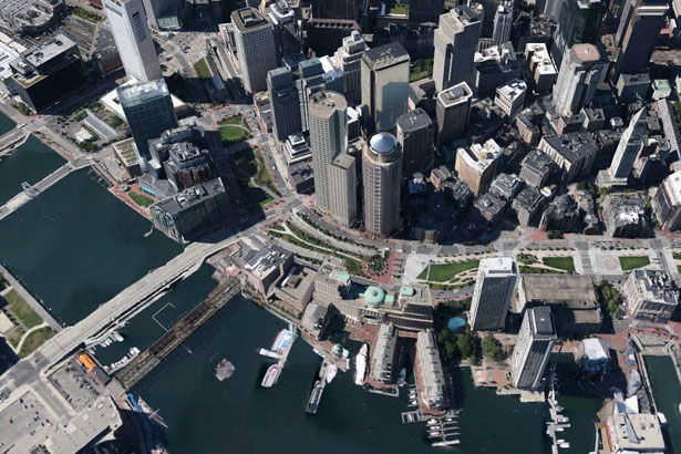 Vista 3D de Boston con Google Earth.