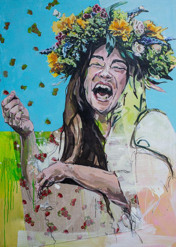 flower power 7: strawberry fields forever,  1,40 Meter mal 1 Meter groß, Acryl auf Leinwand und Stoff gemalt