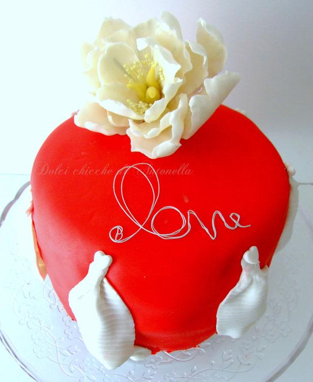 torta san valentino-peonia-fiori-dolci-la spezia-liguria