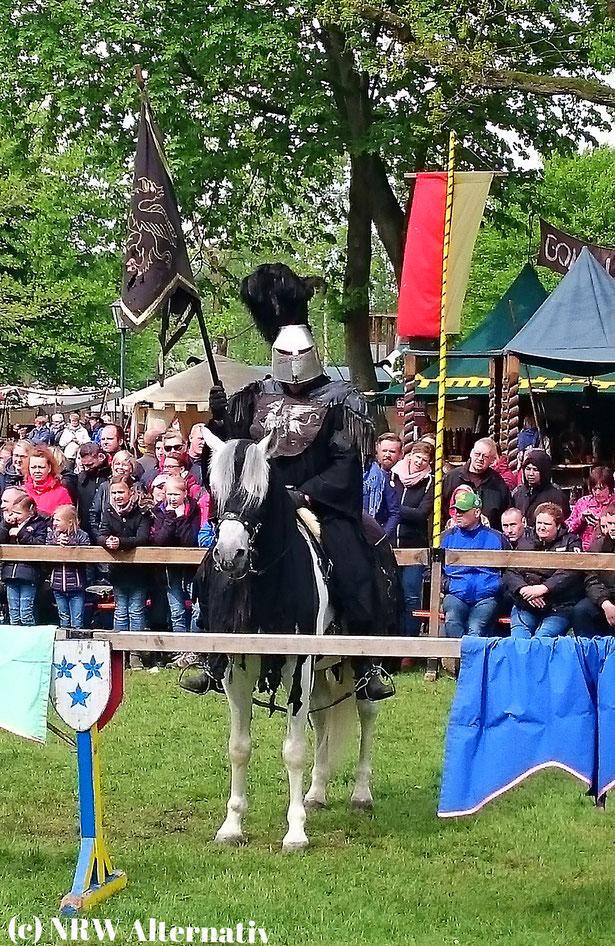Mann auf Pferd in Bad Bentheim bei den Ritterspielen auf dem Mittelaltermarkt.