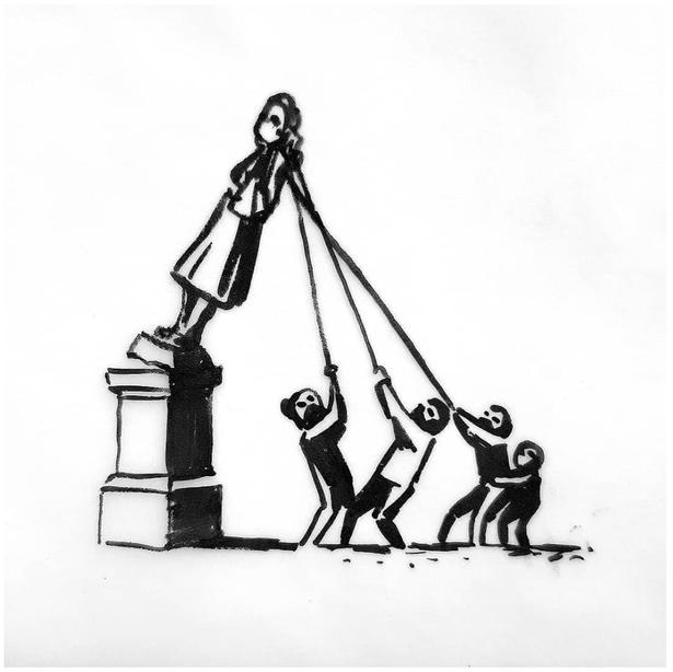 抗議者に引き倒されようとしているコルストン像