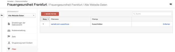 Übersichtsseite über alle gesetzten Filter in Google Analytics