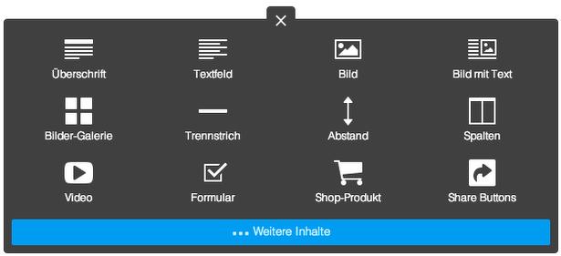 Auflistung der hinzufügbaren Jimdo Module - die 12 meistgenutzten Module der Website werden dargestellt.