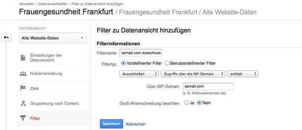 Definieren des Filters für semalt.com in Google Analytics