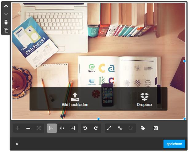 Upload der Bilder via Dropbox oder Auswahl aus einem lokalen Ordner