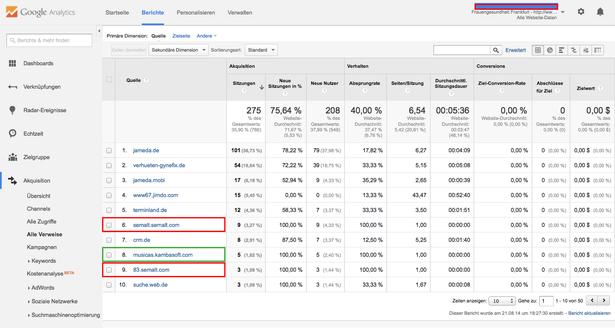 Google Analytics Refferer Bericht: semalt.com muss blockiert werden