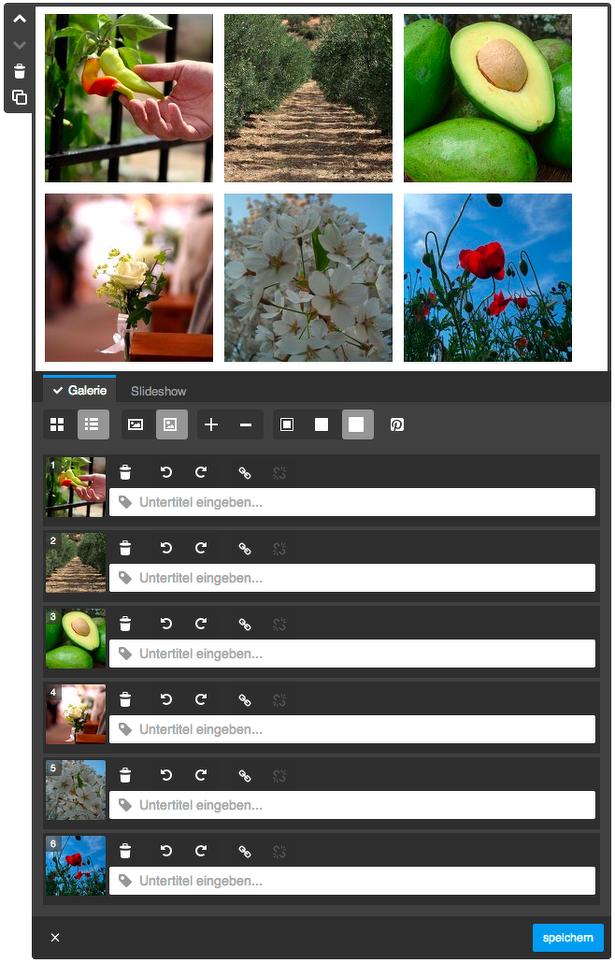 räumliche Trennung von Bilder-Galerie & Slideshow